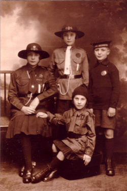 Studio Portrait Girl Guides, Brownie, And Boy Cadet c.1920