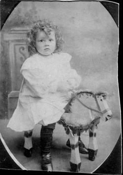 Studio Portrait Young Boy On Toy Horse Stool c.1910