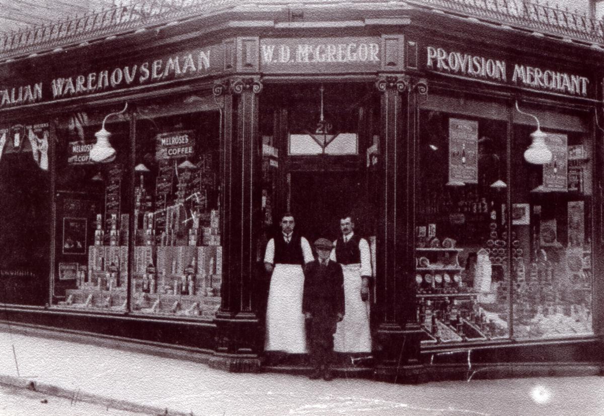 Marchmont Shopkeepers Standing In Doorway Of Store 1900s