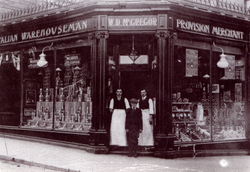 Marchmont Shopkeepers Standing In Doorway Of Store 1900s