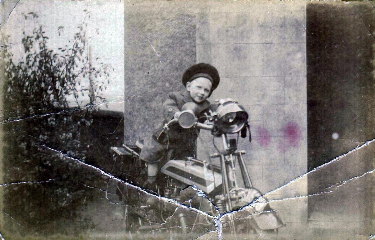 Young Boy On Motorbike c.1918
