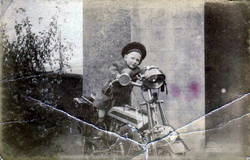 Young Boy Sitting On Motorbike c.1918
