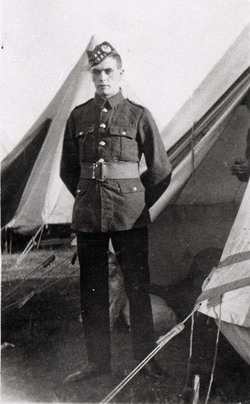 Soldier Standing By Tent At Camp c.1916
