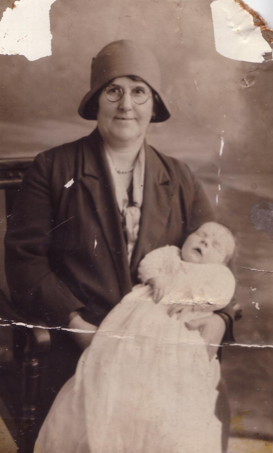 Studio Portrait Woman With Baby In Christening Gown 1930s