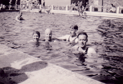 Group Of Swimmers At Outdoor Swimming Pool 1930s