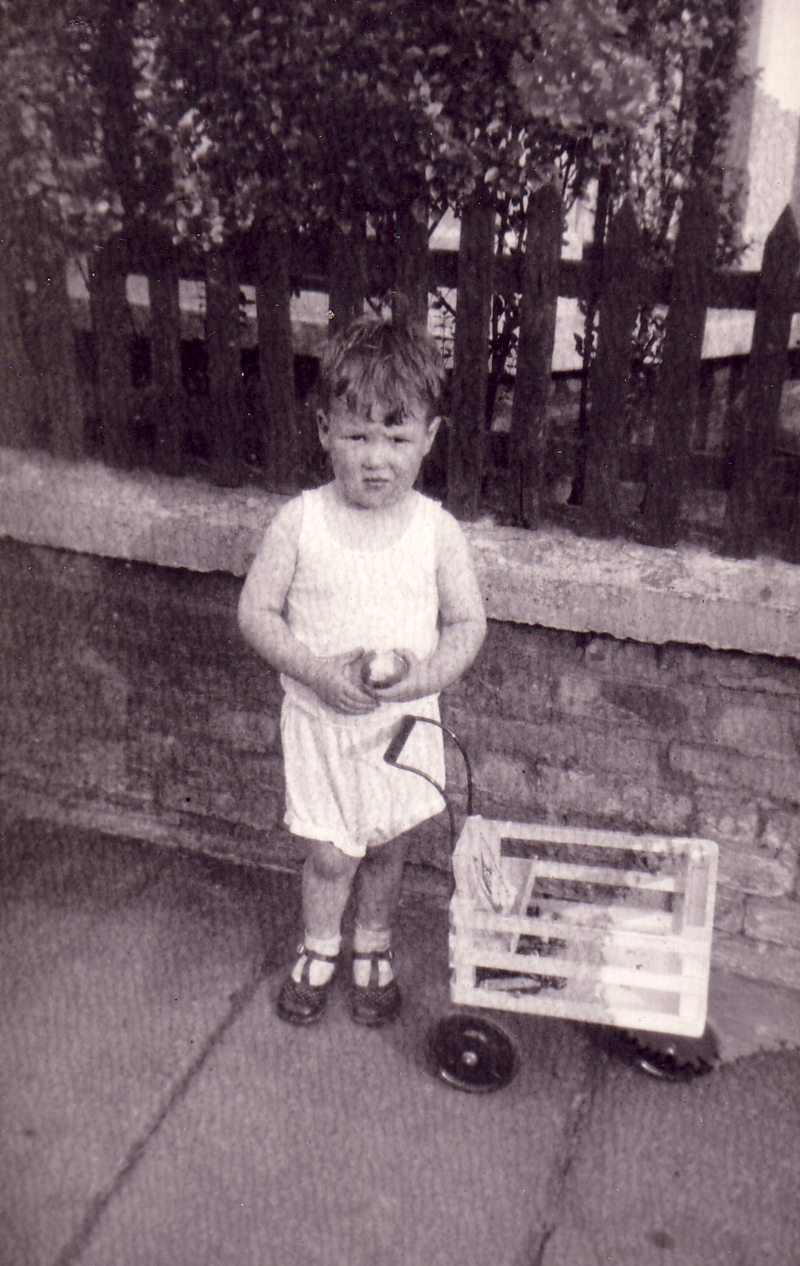 Young Boy With Tricycle Cart Eating Apple 1930s