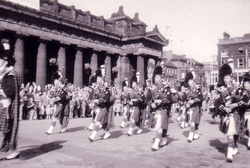 Pipe Band Marching Outside The Royal Scottish Academy 1960s