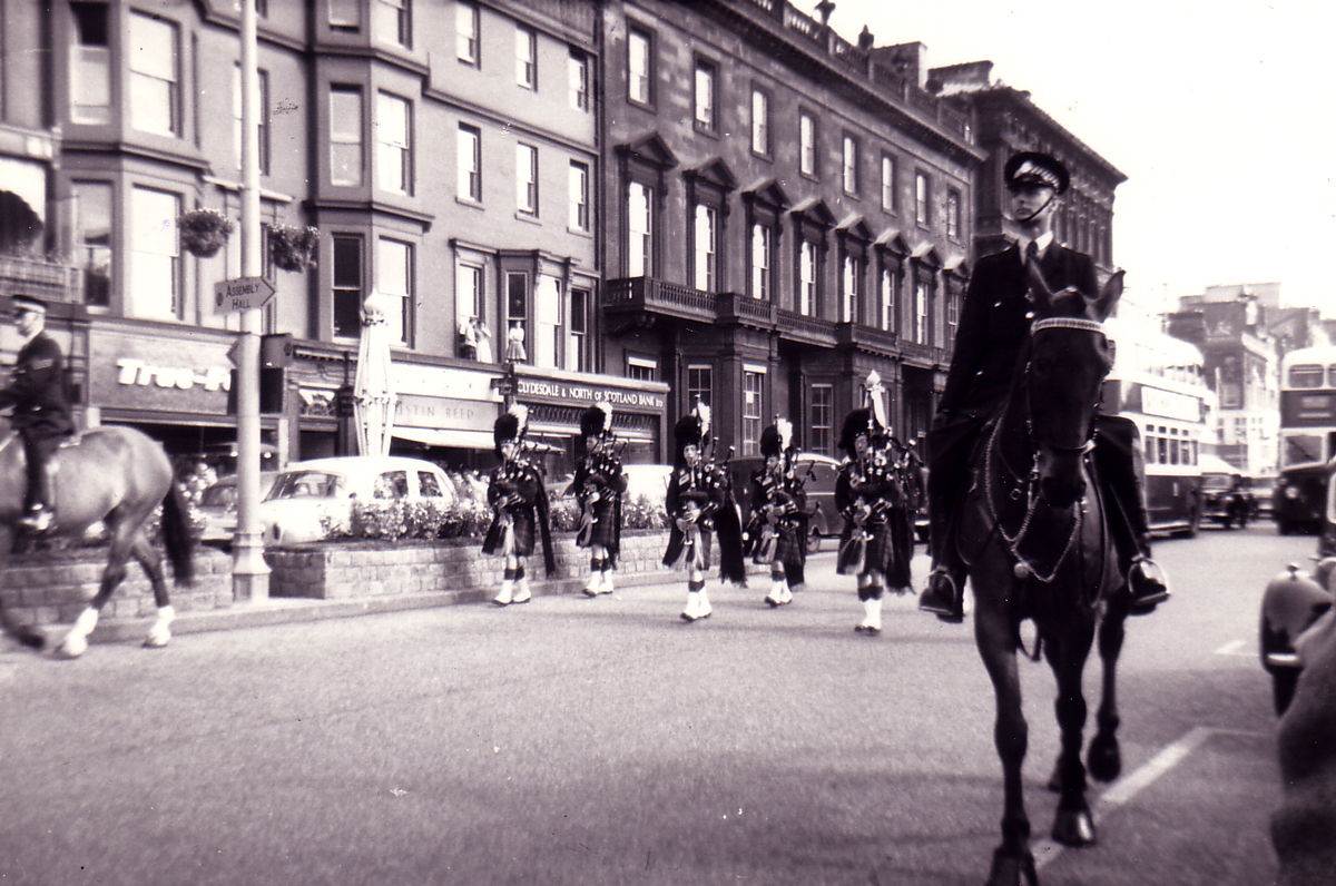 Pipe Band Marching On Princes Street 1960s