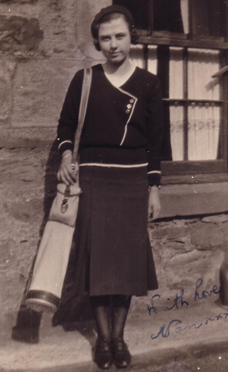 Young Lady Golfer Standing With Golf Bag By Window 1930s
