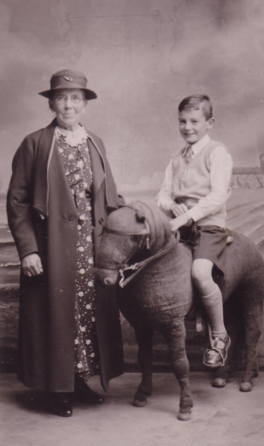 Studio Portrait Woman With Boy Sitting On Stuffed Donkey 1930s