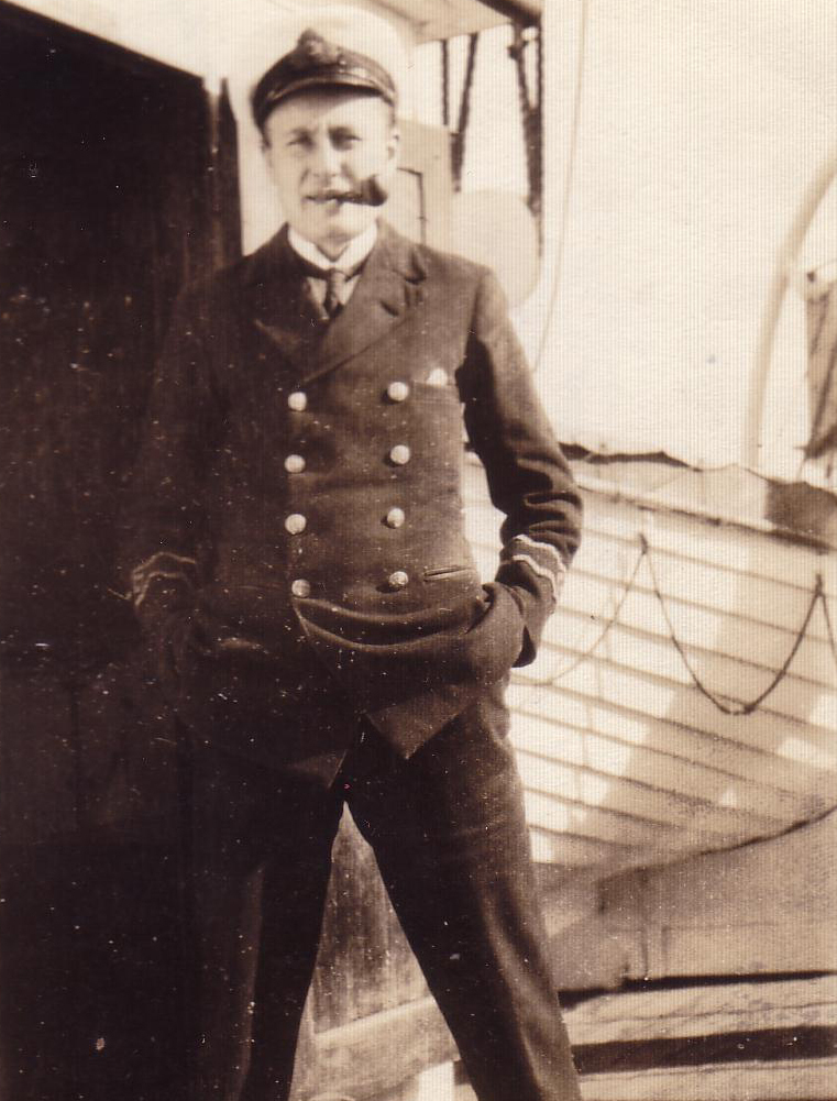 Officer On Board Ship Hands In Pockets Smoking Pipe 1930s