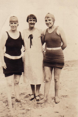 Women In Bathing Costumes At The Beach 1930s