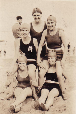 Women In Bathing Costumes Larking On The Beach 1930s
