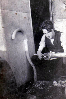 Young Man On Board Trawler Peeling Tatties c.1930