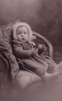 Studio Portrait Young Girl Sitting In Chair Holding Ball c.1934