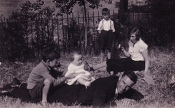 Children And Man Playing In The Park 1930s