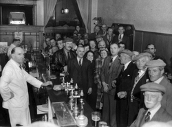 Barstaff and Customers At The Horseshoe Bar In Cockburn Street 1950s