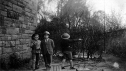 Three Schoolboys In Garden Playing At Being Soldiers 1930s