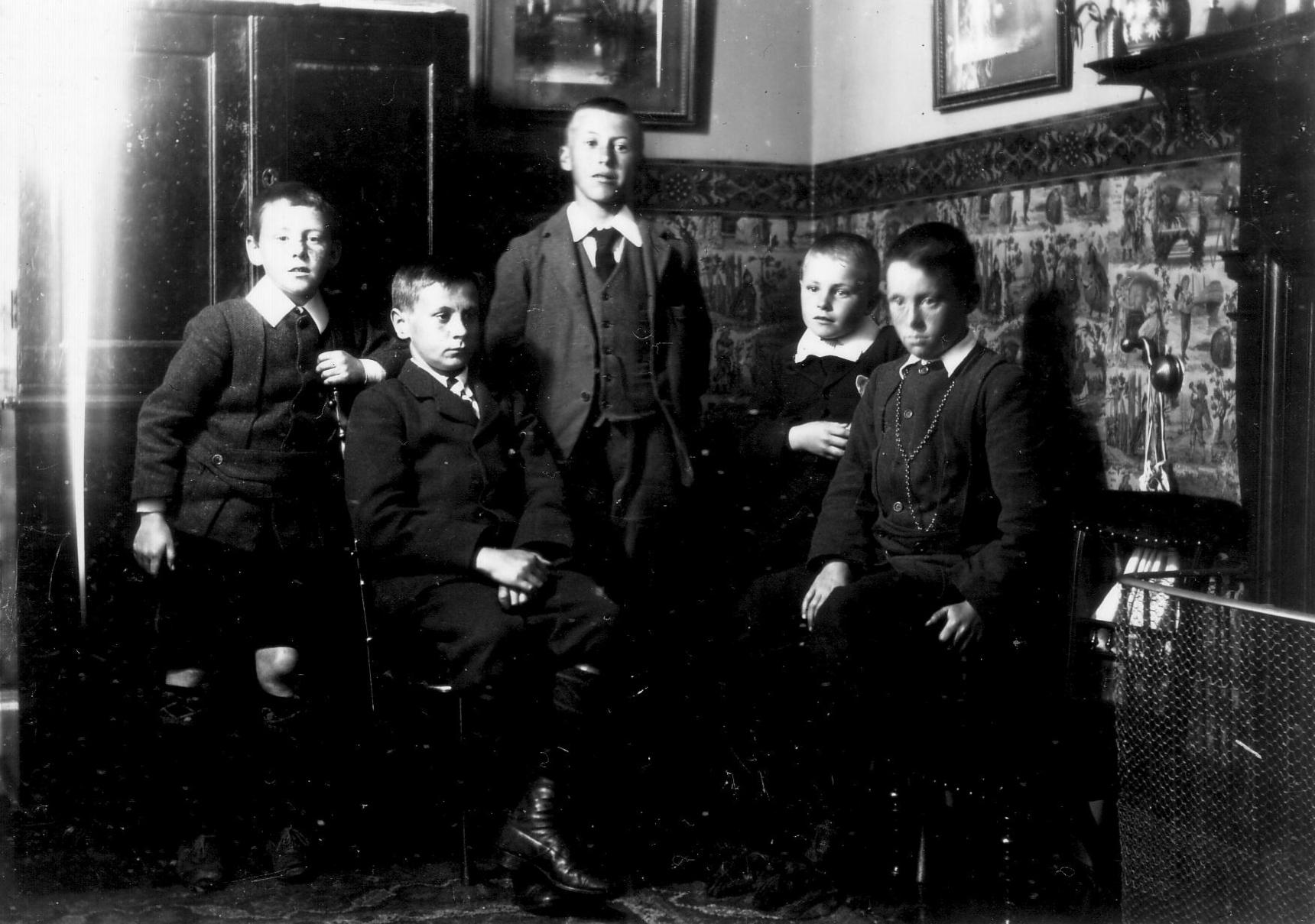 Group Of Schoolboys Standing In Corner Of Room By Fireside c.1906