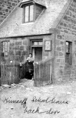 Woman With Dog Standing By Back Door Of Kinneff Schoolhouse c.1910