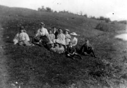 Edwardian Schoolchildren Sitting On Hillside c.1906
