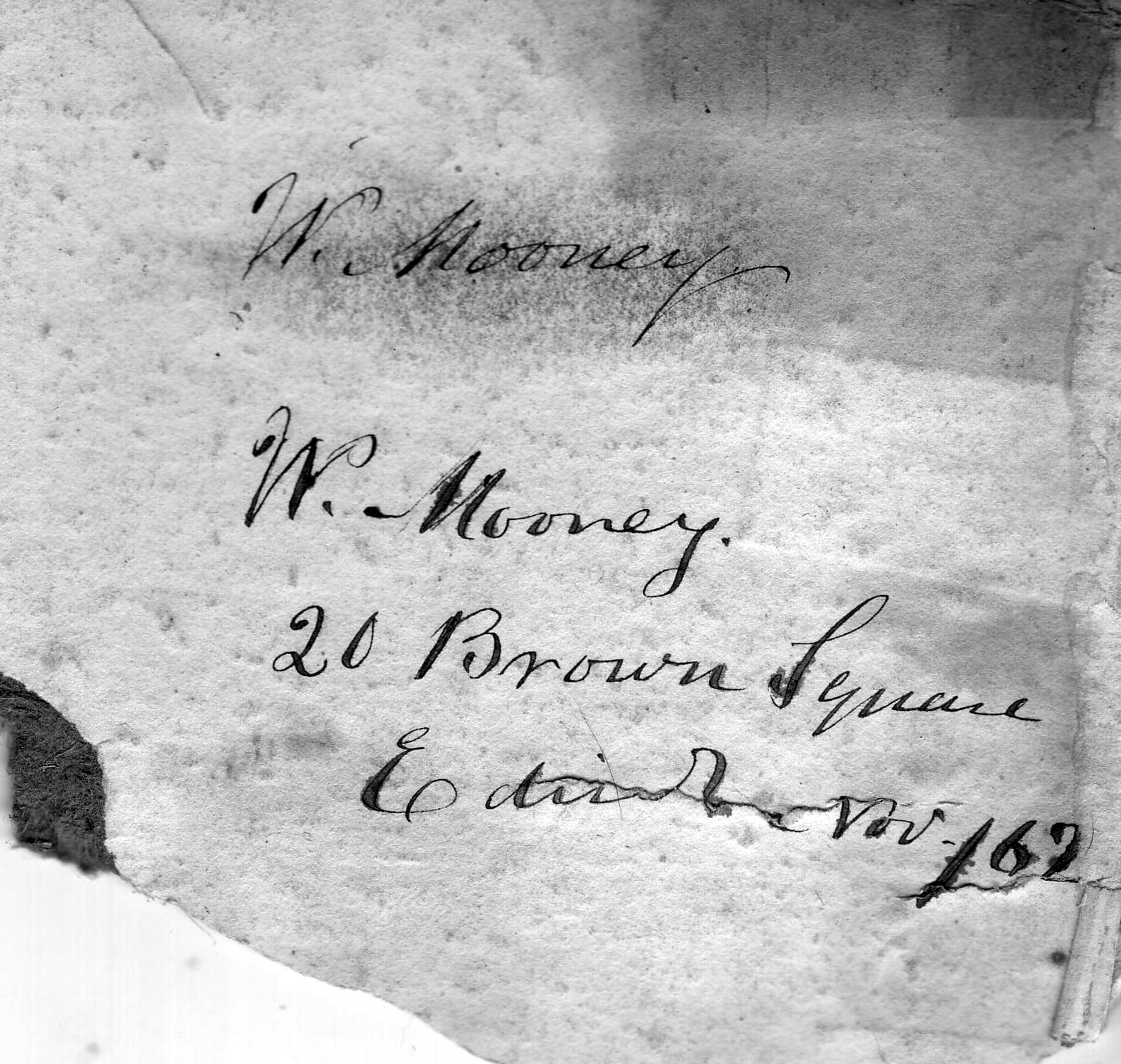 "Address Of A ""W Mooney"" Living At Brown Square c.1900"