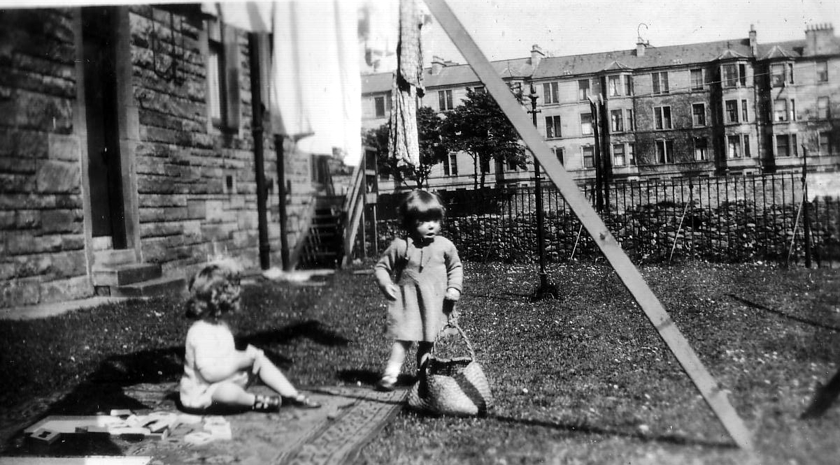 Two Girls Playing In The Back Green 1930s