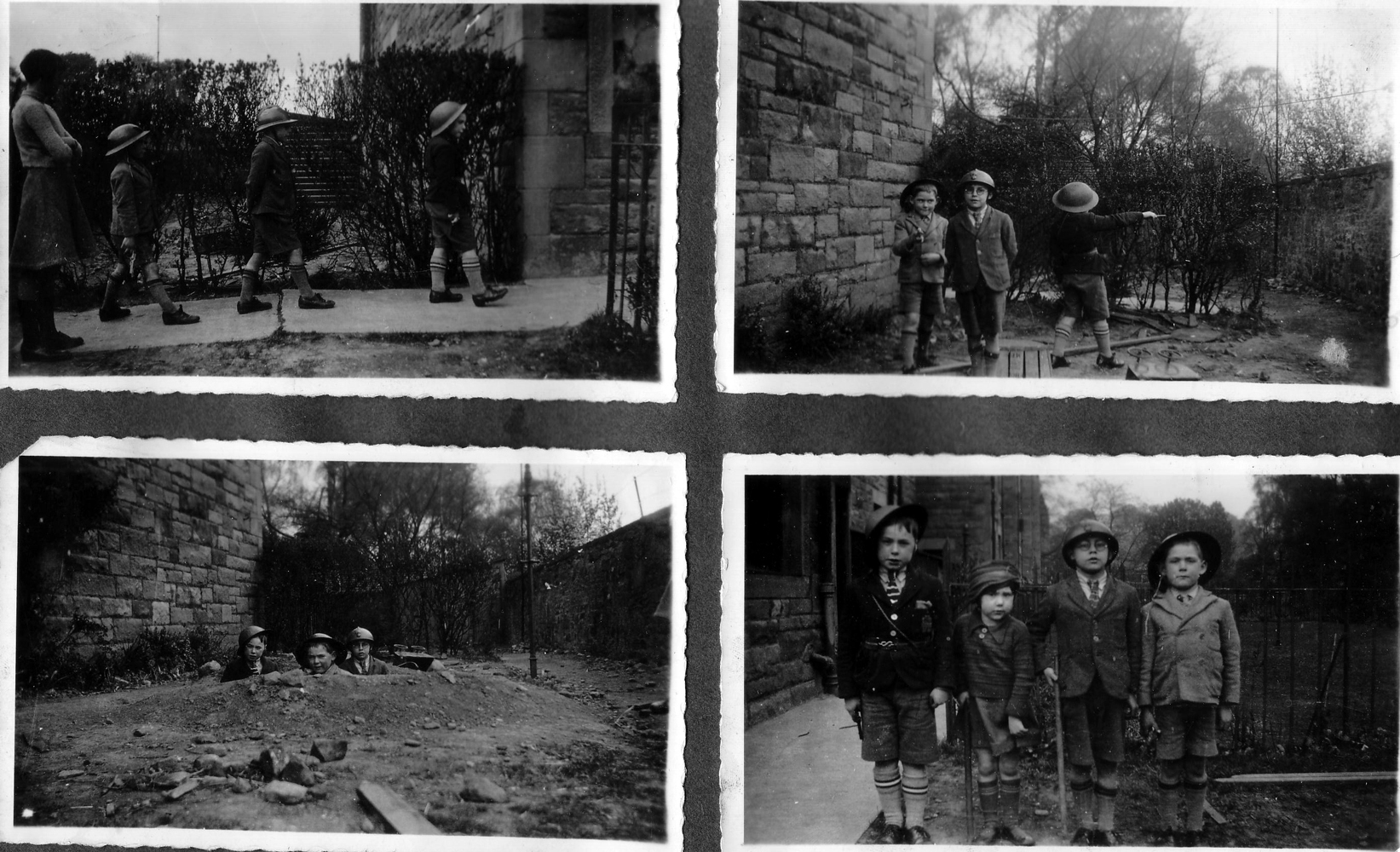Four Boys Playing At Being Soldiers 1930s