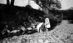 Two Children Playing By the Riverbank 1930s