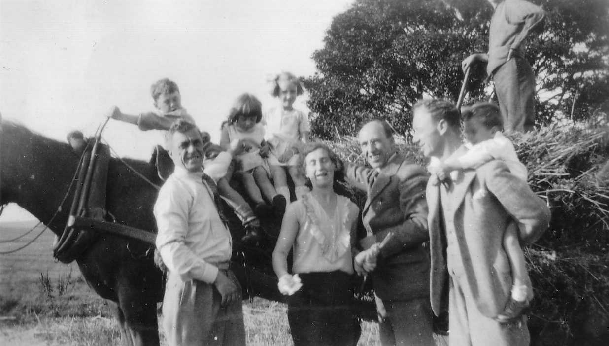 Family Group Around Workhorse And Cart c.1934