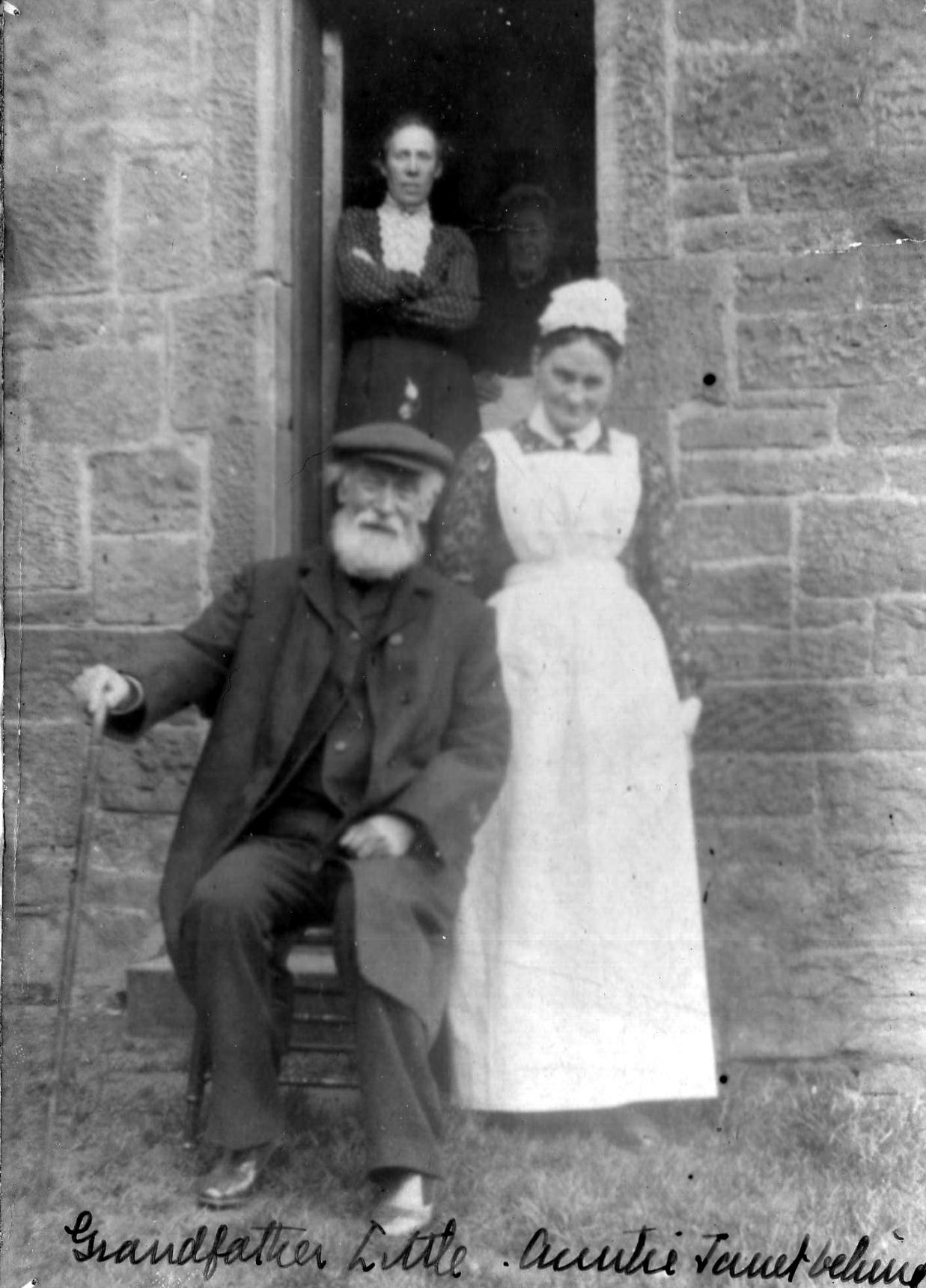 Elderly Gentleman Sitting By Doorway With Maid 1880s
