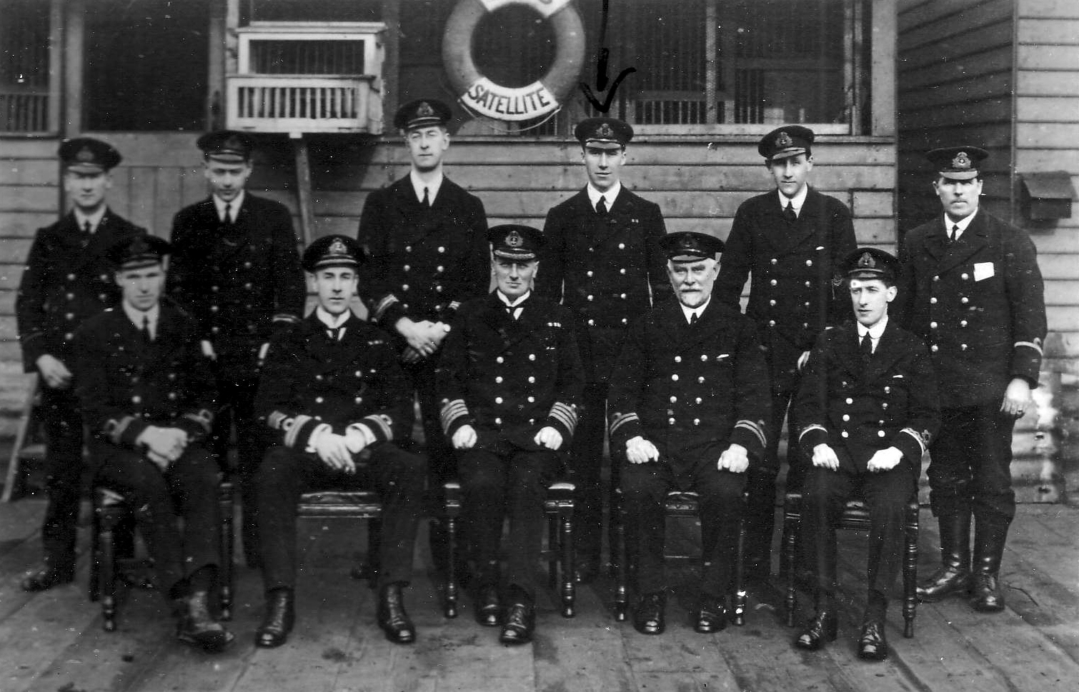 Officers On Board The Drill Ship HMS Satellite 1918
