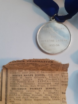 Wester Hailes Primary School  Dux Medal 1955/6 Christine Laidlaw