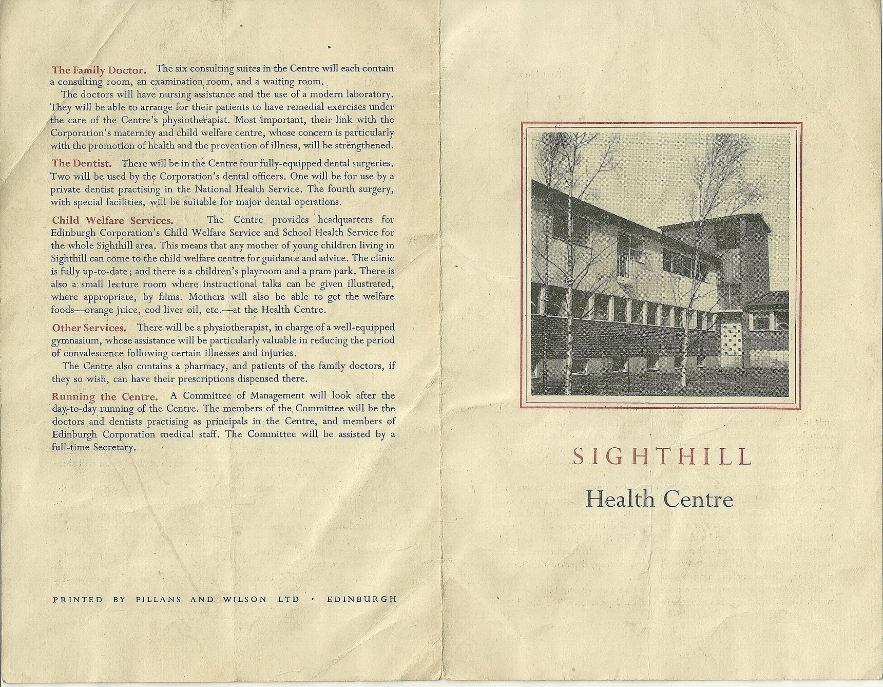 Picture 7 - New Health Centre Calder Road Information Leaflet 1953{1}