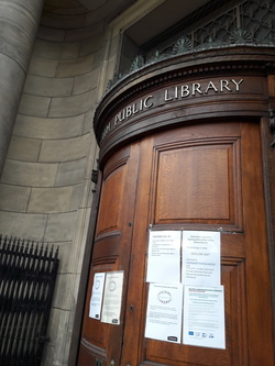 Leith Library, closed due to the coronavirus pandemic