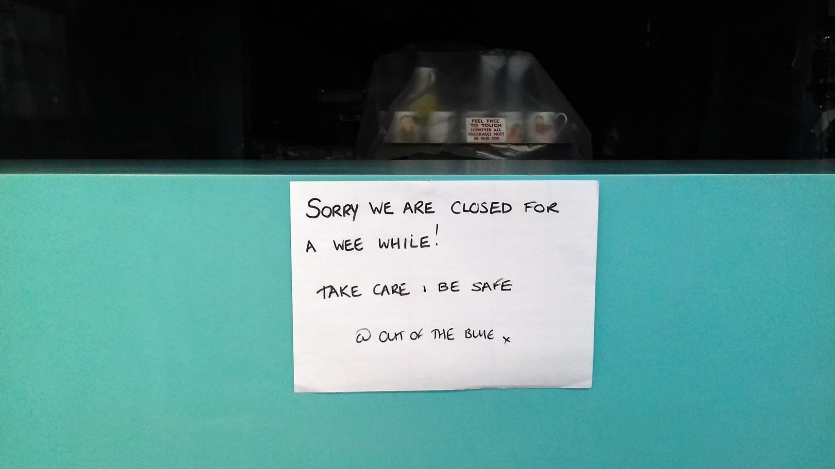 Notice in shop window