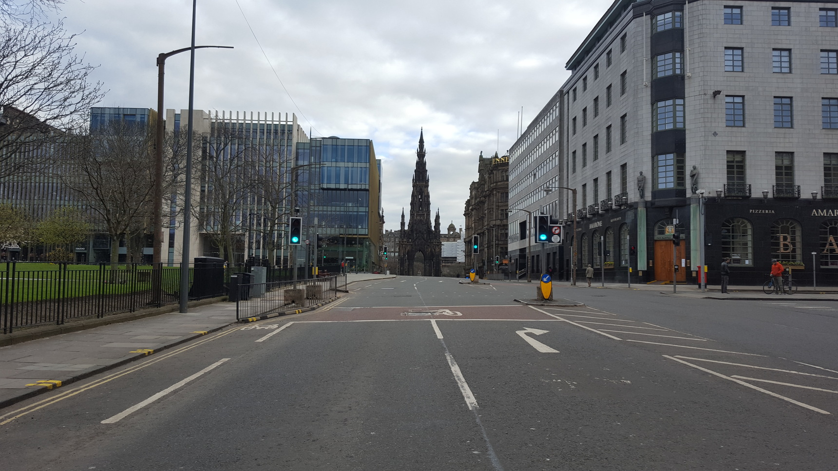 St Andrew Square looking towards Princes Street and the Scott Monument