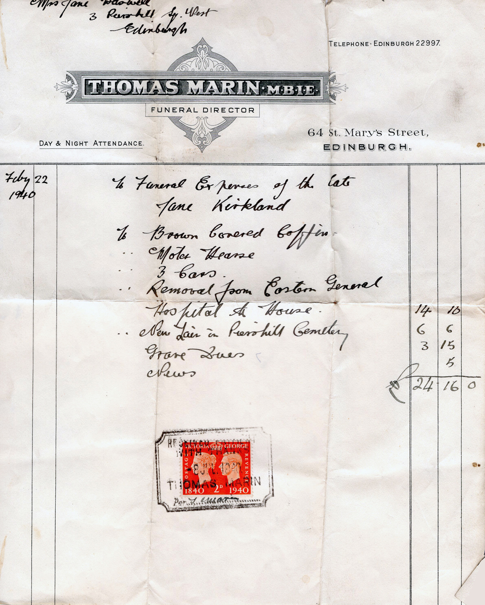 Invoice And Receipt For Funeral Expenses 1940