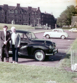 Couple Standing By Their Morris Minor On A Day Out To Holyrood Park c.1975