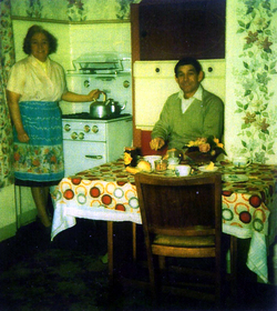 Husband And Wife At Kitchen Table In Their Canongate Home c.1962