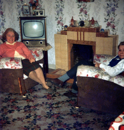 Mother And Son Sitting Round The Living Room Fire c.1962