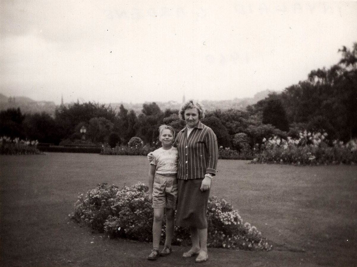 Mother And Son Standing In Invalid Garden c.1960