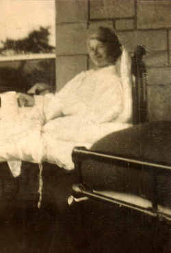 Woman Convalescing In Bed Outdoor 1930s