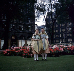 Two Women In Fishwife Dress In East Princes Street Gardens 1960