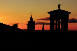 Calton Hill silhouette at sunset