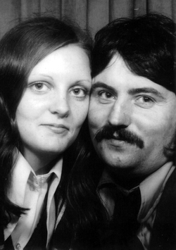 Close-Up Portrait Young Couple In Photo Booth c.1973