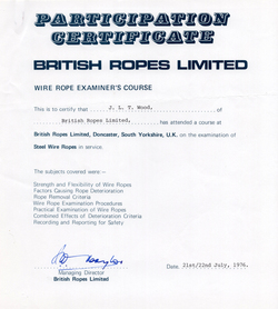 British Ropes Wire Rope Examiner Certificate 1976
