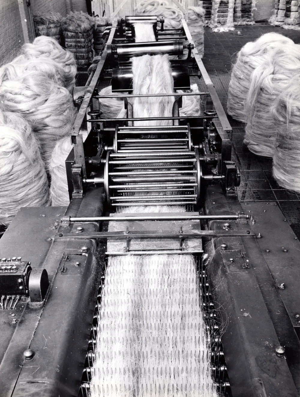 Sisal Being Passed Over Combing Machine With Sharp Steel Teeth 1960s