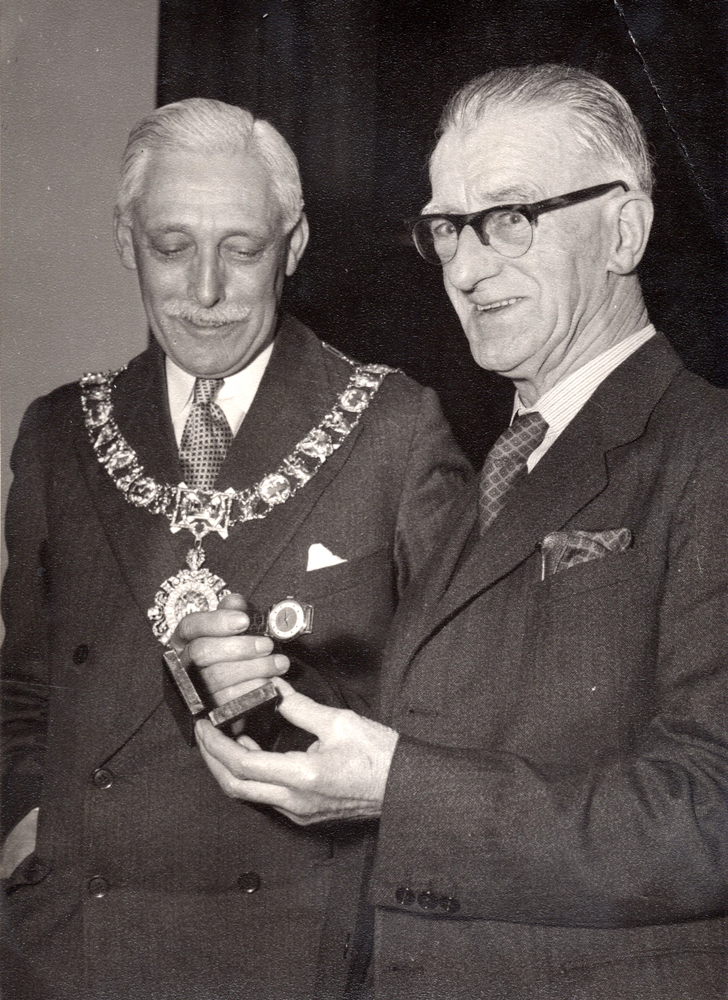 Leith Roperie Employee With Lord Provost Ian Johnson-Gilbert Having Been Presented With Gold Watch For Fifty Years Service c.1959