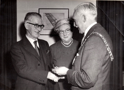 Lord Provost Ian Johnson-Gilbert Presenting Gold Watch To Leith Roperie Employee On Fifty Years Service c.1959